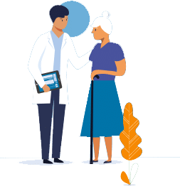 medecin avec une tablette parlant a une personnes avec une canne