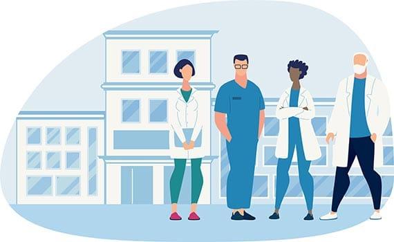 Illustration montrant 4 personnages de l'univers médical devant un hopital