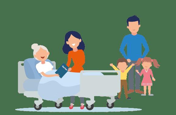 illustration d'une famille au chevet du lit d'une personne agée