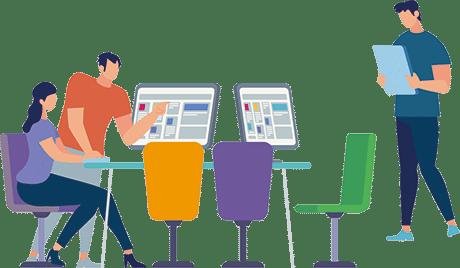 Image stylisée montrant trois personnages autour d'un table avec des ordinateurs